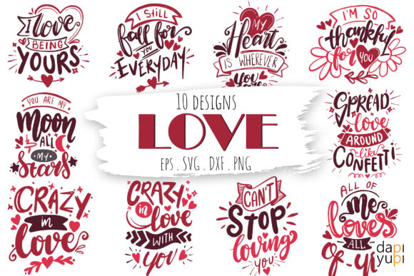 Love Quotes Bundle Graphic Crafts By dapiyupi