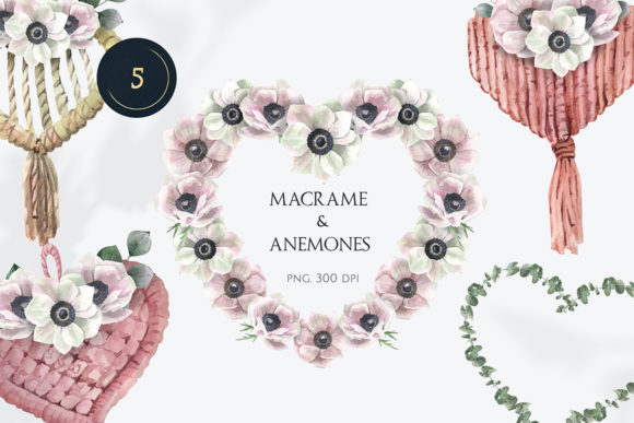Macrame and Anemones Watercolor Hearts Graphic Illustrations By pavlova.j91