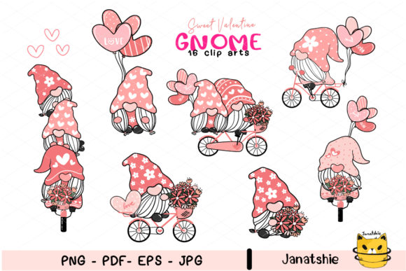 Valentine Gnome Clipart PNG EPS Graphic Illustrations By Janatshie