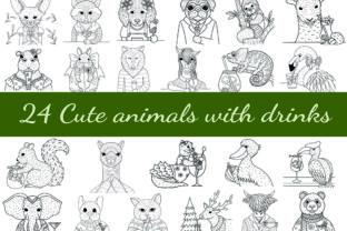 24 Cute Animals with Drinks Graphic Coloring Pages & Books Adults By somjaicindy