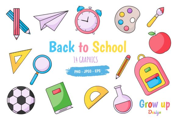 Back to School Icons Set Graphic Graphic Illustrations By Grow up design