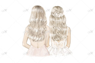 Blondes Bride & Bridesmaid Illustration Graphic Illustrations By MaddyZ