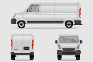 Cargo Delivery Van for Branding Mock-up Graphic Graphic Templates By faqeeh