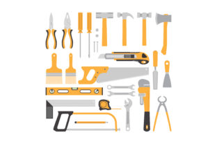 Print on Demand: Carpentry Tools Flat Design Graphic Objects By sabavector