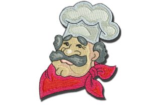 Chef Head Kitchen & Cooking Embroidery Design By BabyNucci Embroidery Designs