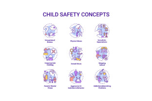 Print on Demand: Child Safety Concept Icons Set Graphic Icons By bsd studio