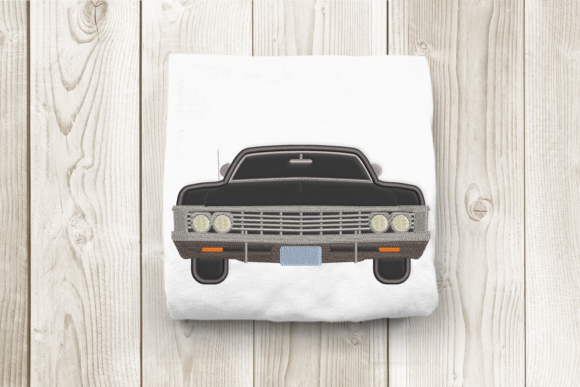 Classic American Muscle Car Applique Transportation Embroidery Design By DesignedByGeeks