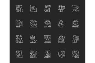 Print on Demand: Cyberbullying Chalk White Icons Set Graphic Icons By bsd studio