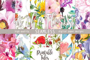 Digital Papers 'at the Florist' Seamless Graphic Patterns By printabletales