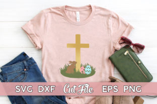 Easter Bunny Shirt with Cross Graphic Illustrations By MaggieDoDesign