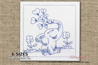 Elephant with Hearts Redwork Valentine's Day Embroidery Design By Redwork101