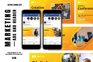 Facebook Business Yellow Ads Header Graphic UX and UI Kits By alphaleonis.studio