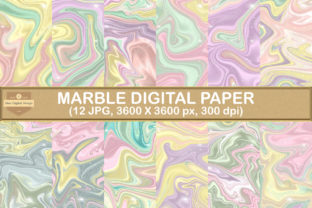 Print on Demand: Fantasy Unicorn Marble Digital Papers Graphic Backgrounds By SineDigitalDesign