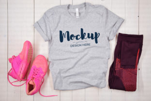 Fitness Tshirt Mockup, Grey Graphic Product Mockups By MyMockupStudio