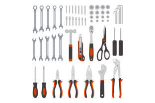 Print on Demand: Flat Design Concept Mechanical Tools Graphic Objects By sabavector