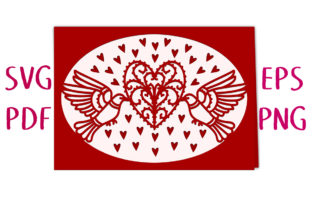 Flying Doves Heart Card SVG Cut File Graphic 3D SVG By Nic Squirrell