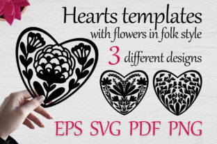 Heart Templates with Flowers, Svg Vol-02 Graphic Print Templates By FolkStyleStudio