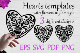 Heart Templates with Flowers, Svg Vol-03 Graphic Print Templates By FolkStyleStudio