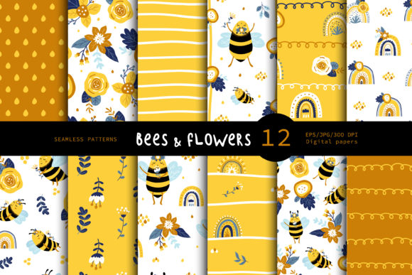 Print on Demand: Honey Bee, Spring Seamless Patterns. Graphic Patterns By FindsArtDesign
