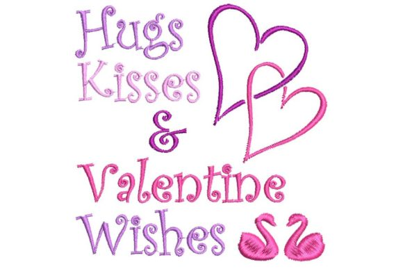 Hugs and Kisses & Valentine Wishes Valentine's Day Embroidery Design By BabyNucci Embroidery Designs