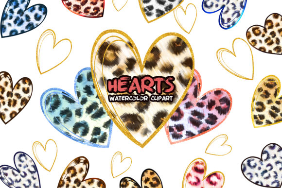Leopard Hearts Clipart. Valentines Print Graphic Add-ons By EvArtPrint
