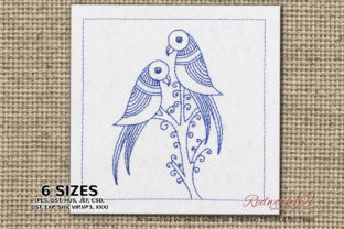 Love Birds Zentangle Lineart Birds Embroidery Design By Redwork101