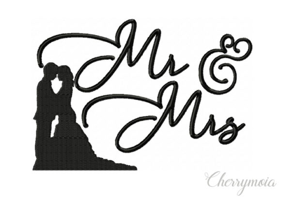 Mr & Mrs Wedding Designs Embroidery Design By CherrymoiaEmbroidery