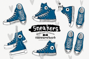 Print on Demand: Navy Blue Sneakers Clipart Bundle Graphic Crafts By Chonnieartwork