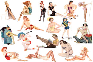 Print on Demand: Pin Up Girls Clipart Graphic Illustrations By retrowalldecor