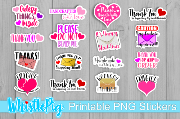 Print on Demand: Printable Small Business Sticker Bundle Graphic Crafts By Whistlepig Designs