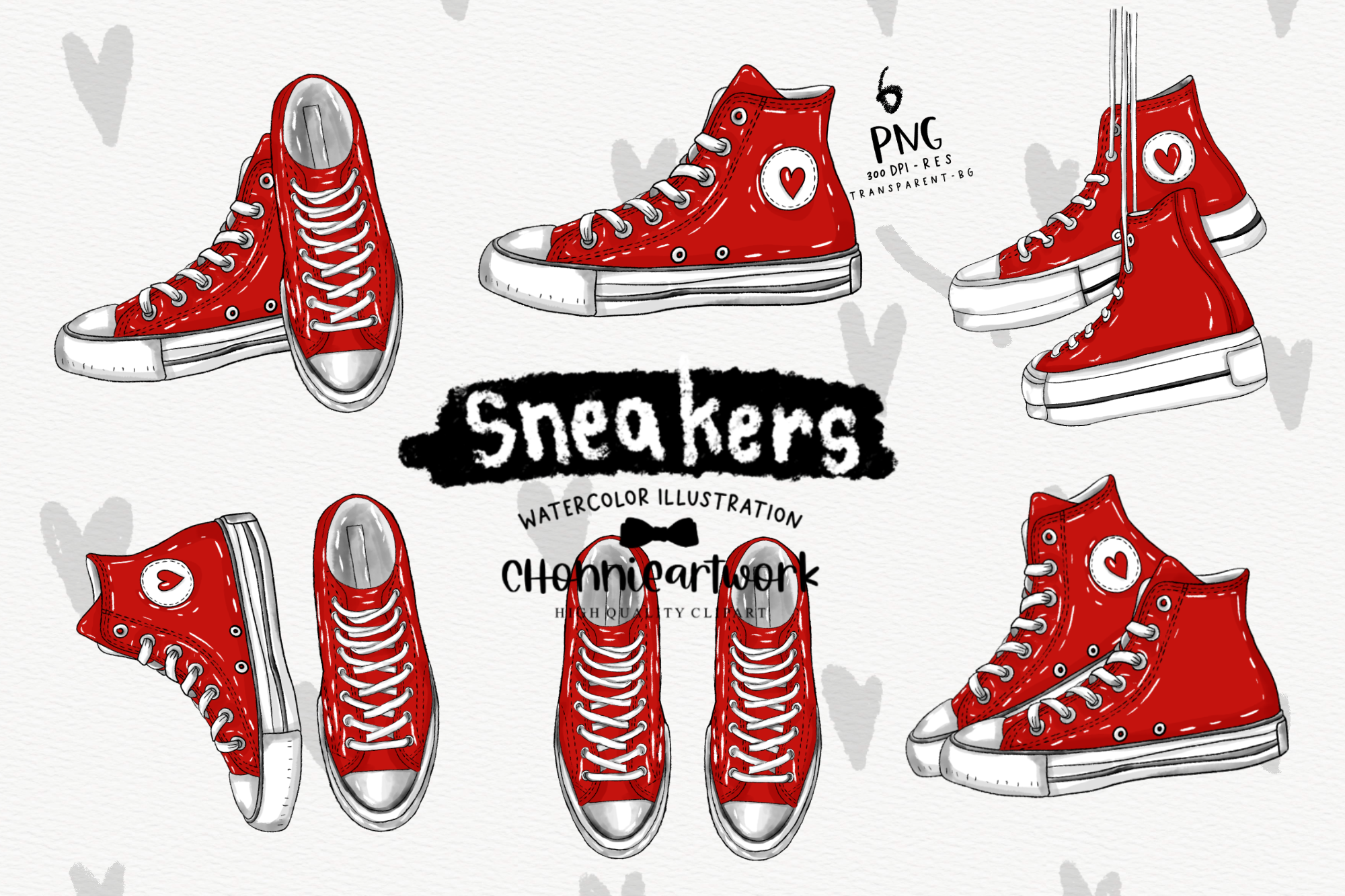Red Sneakers Clipart Bundle, Red Shoes SVG File