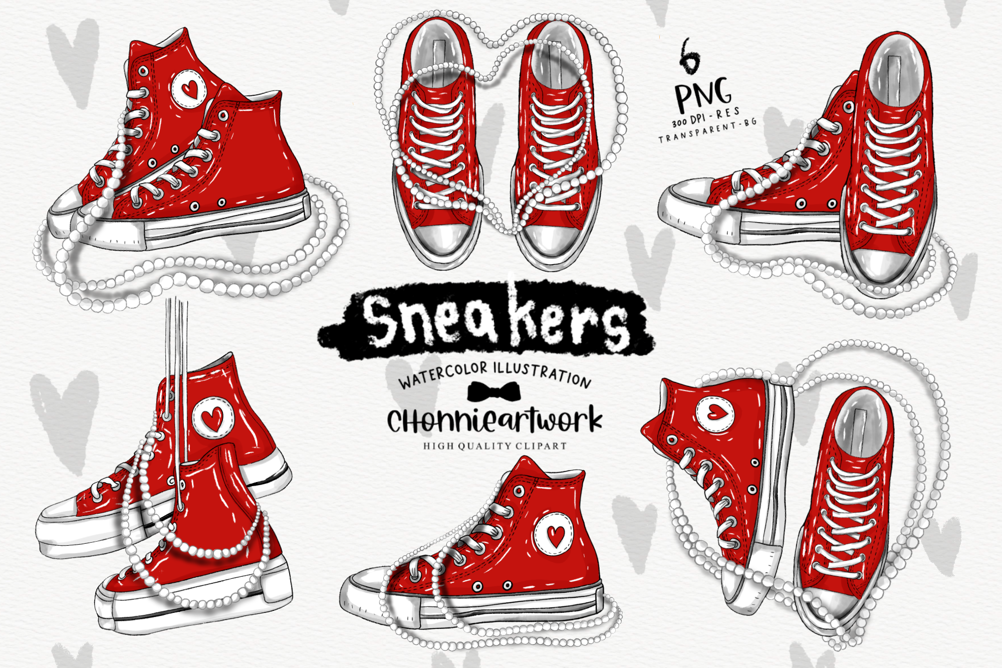 Red Sneakers and Pearls Clipart Bundle SVG File