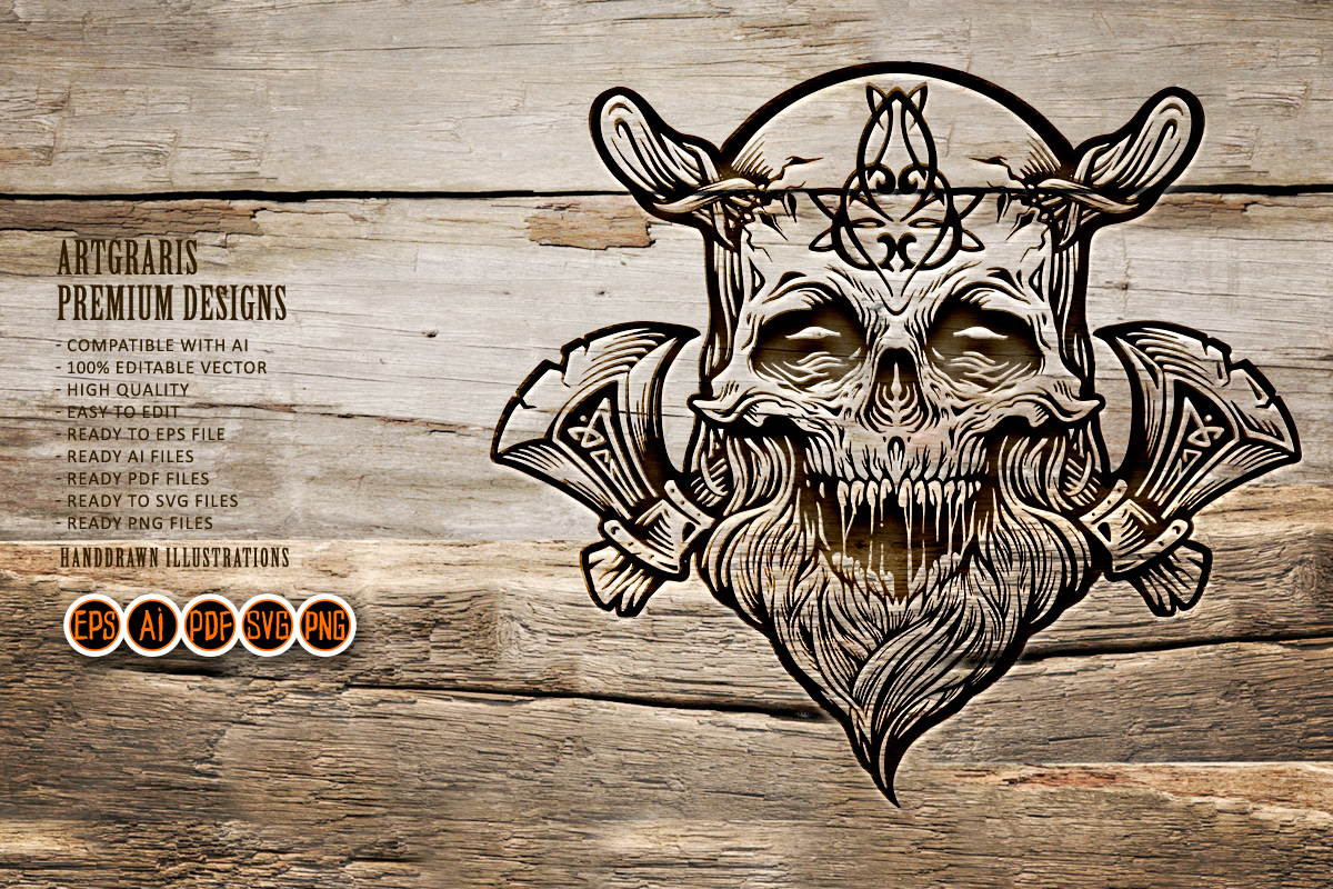 Skull Viking Warrior with Axe Clipart SVG File