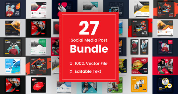 Social Media Post Template Bundle  By GraphicHut