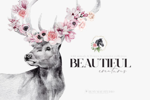 Watercolor Animal Portraits and Flowers Graphic