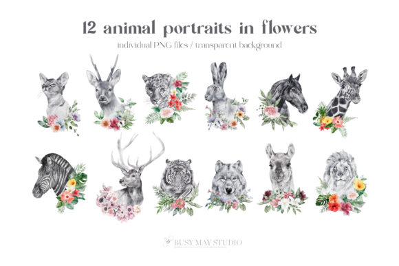 Watercolor Animal Portraits and Flowers Graphic Item
