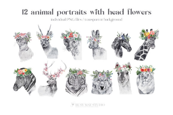 Watercolor Animal Portraits and Flowers Graphic Design