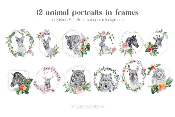 Watercolor Animal Portraits and Flowers Graphic Preview