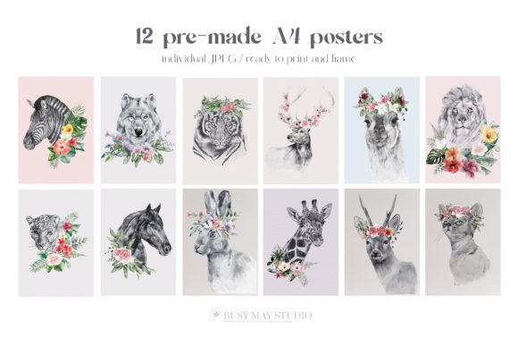 Watercolor Animal Portraits and Flowers Graphic Image