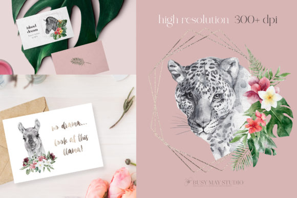 Watercolor Animal Portraits and Flowers Graphic Design Item
