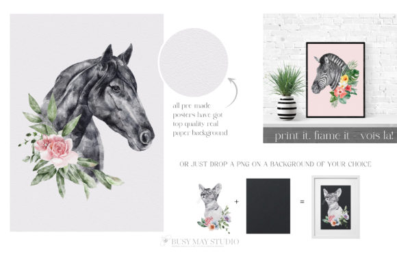 Watercolor Animal Portraits and Flowers Graphic Downloadable Digital File