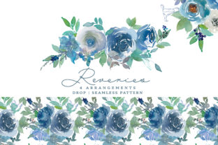 Watercolor Romantic Sky Blue Flowers Set Graphic Illustrations By Patishop Art