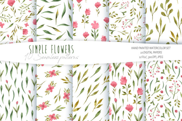 Print on Demand: Watercolor Floral Seamless Patterns Graphic Patterns By Tiana Geo