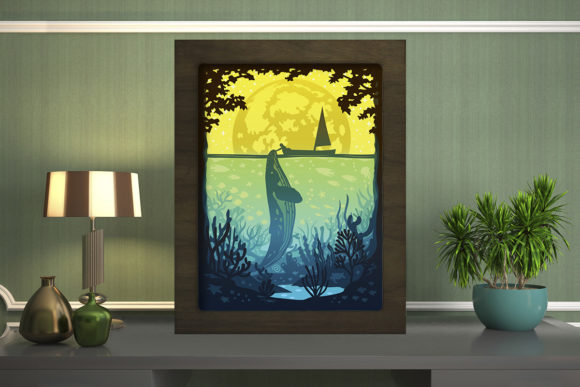Print on Demand: Whale 2 Light Box Shadow Box Graphic 3D Shadow Box By LightBoxGoodMan