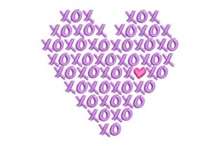 XO XO XO XO Heart Valentine's Day Embroidery Design By BabyNucci Embroidery Designs