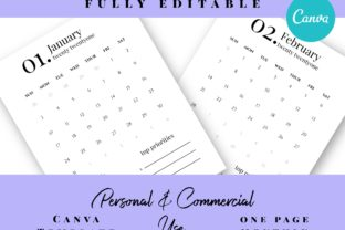 2021 One Page Calendar Monthly Graphic Print Templates By Island Tulip Designs Co