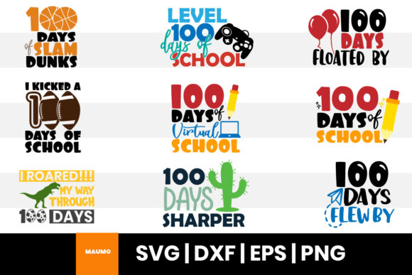 Print on Demand: 9 100 Days of School Bundle Svg Quotes Graphic Print Templates By Maumo Designs