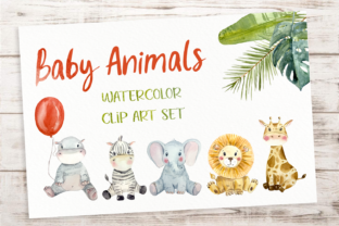 Baby Animals Watercolor Clip Art Set Graphic Illustrations By tatibordiu