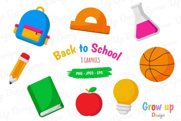 Back to School Icons Set Graphic. Graphic Illustrations By Grow up design