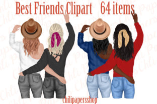 Print on Demand: Best Friends Clipart,Besties Clipart, Graphic Illustrations By ChiliPapers
